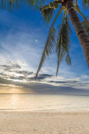 over the sea: Beautiful sunrise over sea water in Philippines, Bantayan island Stock Photo