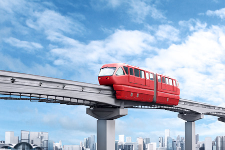 kuala lumpur city: Red monorail train against blue sky and modern city in background
