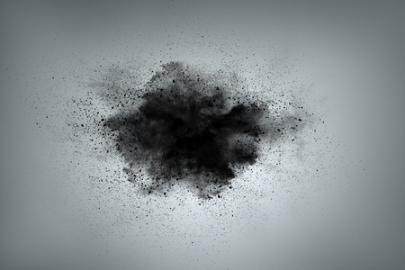 black powder: Abstract design of black powder cloud against gray background
