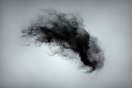 Abstract design of black powder cloud against gray background