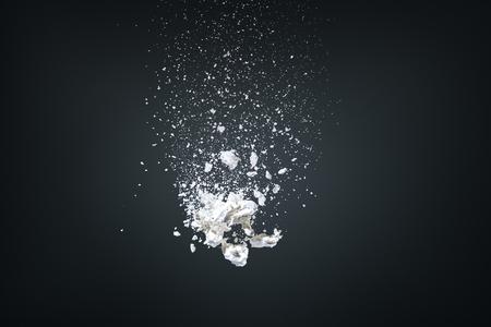 volar: Dise�o abstracto de la nube de polvo blanco sobre fondo oscuro