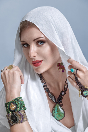 arab glamour: Portrait of young beautiful woman arabic style fashion look Stock Photo