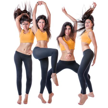 ejercicio aeróbico: Feliz mujer delgada en el deporte bailar desgaste aislado más de fondo blanco