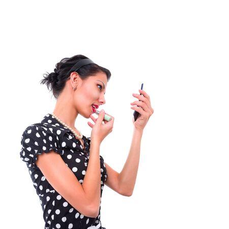 sexy young girls: молодая девушка рисует губы siolated на белом фоне
