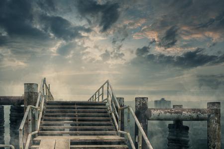 Apocalyptic digital art of ruined abandoned city