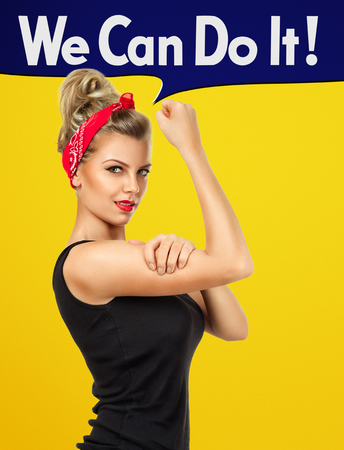 Modern design inspired by classic american poster - We can do it. Empowerment of women concept Stock Photo