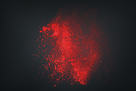 Abstract design of red powder cloud against dark background Stock Photo