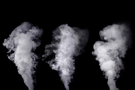 Set of abstract white smoke cloud against dark background Stock Photo
