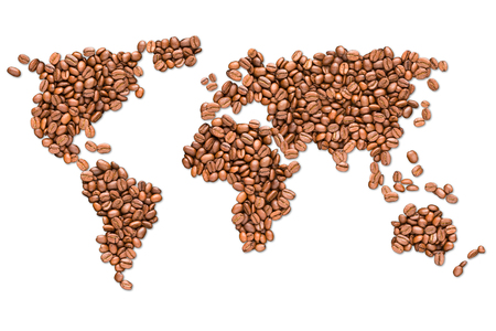 Roasted coffee beans shaped earth globe map isolated on white background