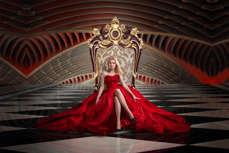 A woman in a luxurious gown dress sitting on a queens throne