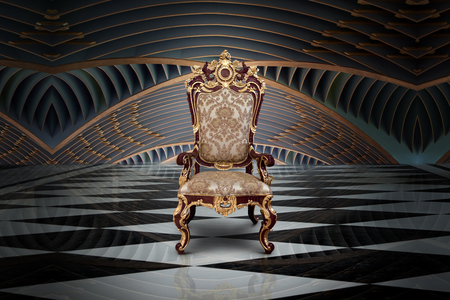 Abstract design of empty throne in palace hall Foto de archivo - 103587261