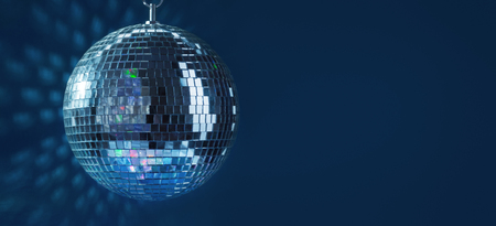 Abstract Design of Party Disco Ball on Blue Background Stok Fotoğraf