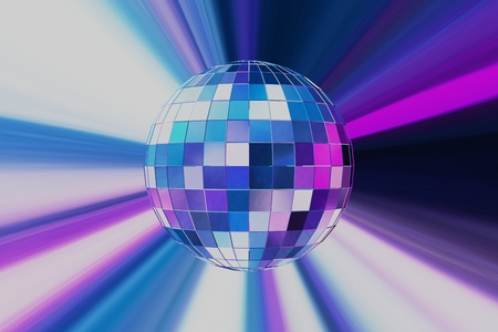 Abstract Design of Party Disco Ball on Blue Background Standard-Bild - 123303924