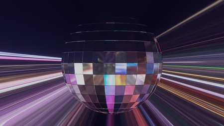 Abstract Design of Party Disco Ball on night city Background Standard-Bild - 123303925