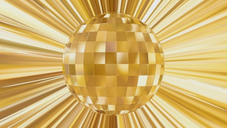 Abstract Design of Party Disco Ball on Gold Background Standard-Bild - 123303927