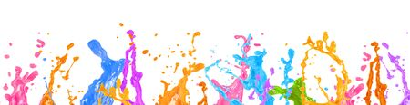 Wide web banner design of abstract liquid paint splashes over white background Foto de archivo