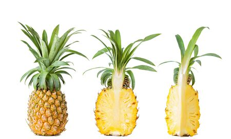 Fresh whole and sliced ripe pineapple isolated on white background 版權商用圖片