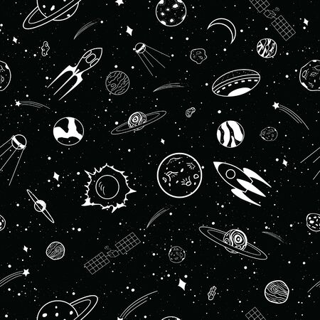 Seamless Collection of cartoons outer space objects set design over black background