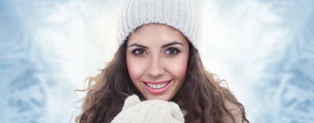 Winter fashion portrait of beautiful young woman