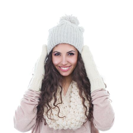 Winter fashion portrait of beautiful young woman isolated on white background Banque d'images