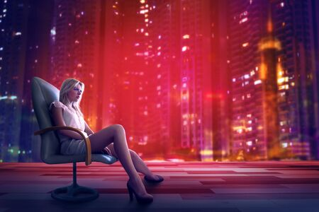 Beautiful businesswoman sitting on armchair in modern office with futuristic night city in background. Young woman sit on office chair