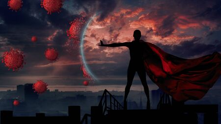 Concept of medical doctors fighting against global pandemic virus . Abstract silhouette portrait of young hero woman with super person red cape protect city from corona virus outbreak. 版權商用圖片