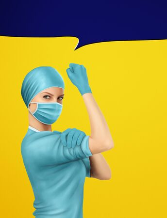 Concept of healthcare worker inspired by classic vintage american We Can Do It poster. Brave medical doctors in frontline of global pandemy of coronavirus