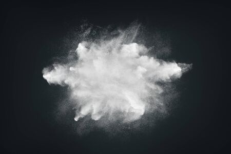 Abstract design of white powder or dust particles cloud explosion and splash with smoke flying over black background 版權商用圖片