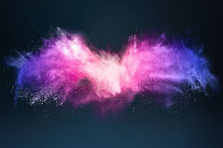 Abstract design of bright colored powder or dust particles cloud explosion and splash with smoke flying over black background 版權商用圖片 - 148053746