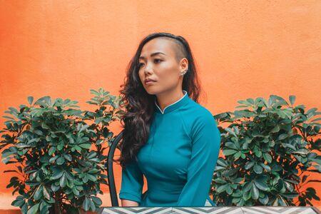 Outdoor portrait of young woman in traditional vietnamese dress 版權商用圖片 - 149151837