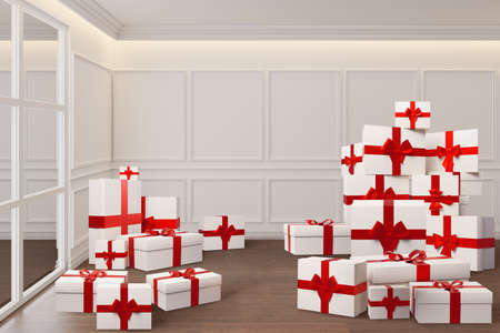 3d rendering of sale concept with gift boxes stacked in heap