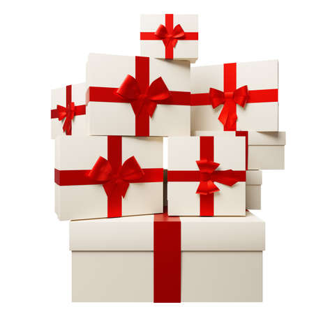 3d rendering of sale concept with gift boxes stacked in heap isolated on white background