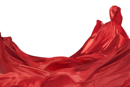 Fluttering red silk textile clothes  isolated over white background. Abstract Design elements