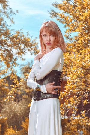 Outdoor fashion portrait of young modern woman 版權商用圖片