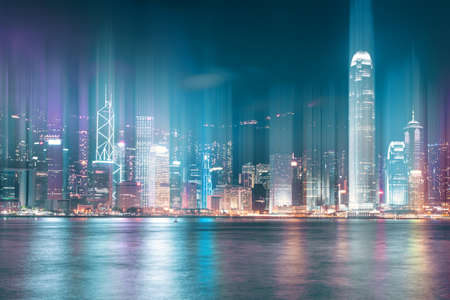 Abstract view on night Hong Kong city cityline with motion light trails 版權商用圖片