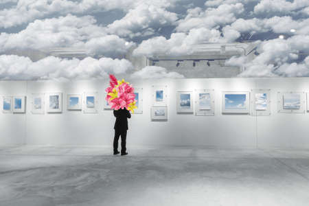Abstract concept of man at art gallery 版權商用圖片