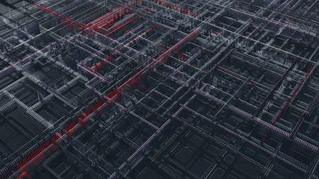 3D render of abstract tech metal wire mesh dark background 版權商用圖片