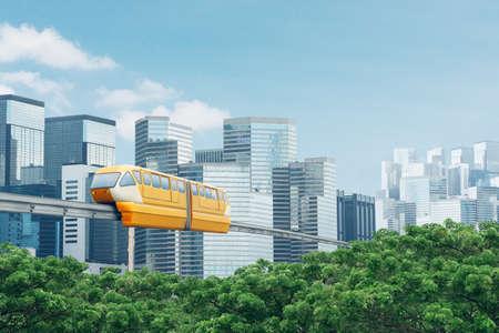 Monorail train at raised railway at modern city