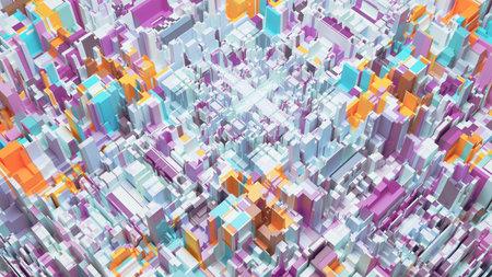 3D render of abstract futuristic city concept 版權商用圖片