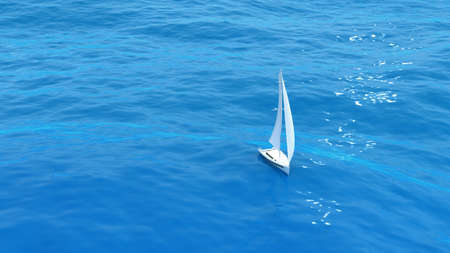 3D render of luxury sailing yacht