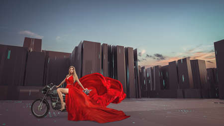 Sci-Fi concept of woman riding on cyberpunk motorbike on futuristic city street. Composite image