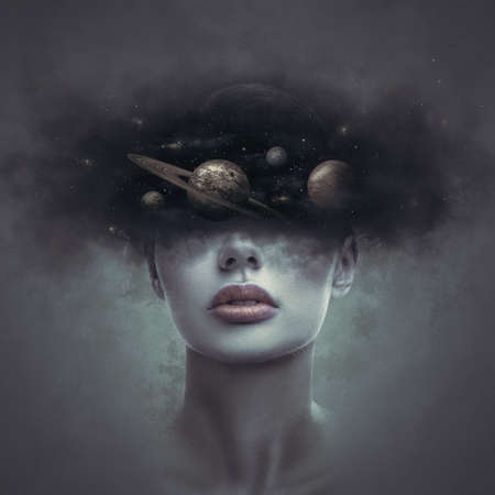 Fantasy art portrait of young day dreaming woman with head in galaxy outer space clouds. Concept of dreams or imagination