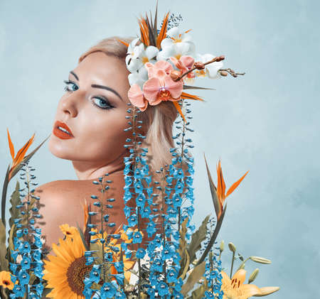 Abstract contemporary art collage portrait of young woman with flowers 版權商用圖片