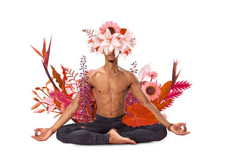 Abstract art design of young man doing yoga with flowers around body isolated on white background