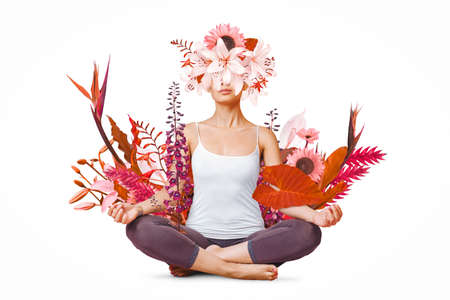Abstract art design of young woman doing yoga with flowers around body isolated on white background