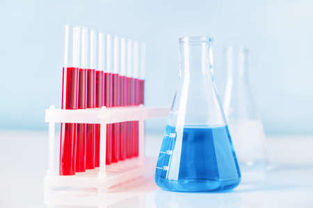 Set of test tubes and flask in science or medical lab 版權商用圖片