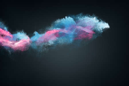 Abstract design of multi-colored powder or smoke cloud explosion on dark background 版權商用圖片