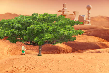 Astronaut growing tree on red planet. Mars exploration and colonization concept. Elements of this image were furnished by NASA 版權商用圖片
