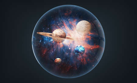 Abstract image collage of outer space planets inside of glass sphere. 版權商用圖片