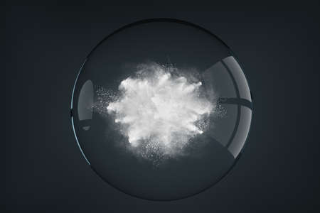 Abstract design of powder or smoke particles cloud explosion on dark background inside the transparent glass sphere 版權商用圖片